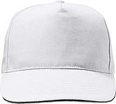HANSEN Jednobarevná pětipanelová kšiltovka, zapínání na přezku, bílá - reklamní čepice