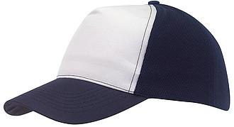 Pětipanelová kšiltovka s bílým předním panelem, modrá