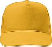 HANSEN Jednobarevná pětipanelová kšiltovka, zapínání na přezku, žlutá