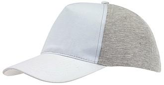 Pětipanelová kšiltovka, stahování na suchý zip, šedo bílá