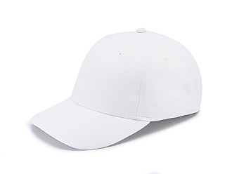 Šestipanelová čepice se zapínáním na suchý zip, bílá - reklamní čepice