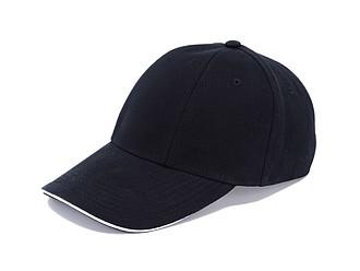 Šestipanelová čepice se sandwich kšiltem, černá