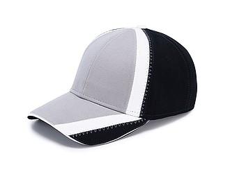 Čepice s prodlouženým kšiltem a bílým prvkem, černá/šedá