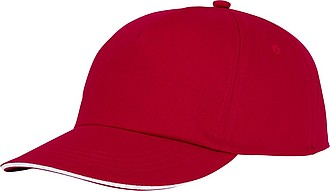 Pětipanelová bavlněná sandwich čepice Styx, červená - reklamní čepice