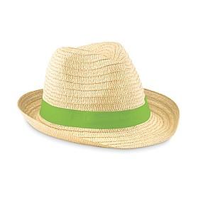 Klobouk z přírodního materiálu s zeleným páskem - reklamní čepice