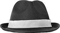 Klobouk s bílým páskem k potisku, černý - reklamní čepice