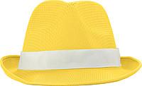Klobouk s bílým páskem k potisku, žlutý