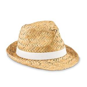 Přírodní slámový klobouk s bílou stuhou