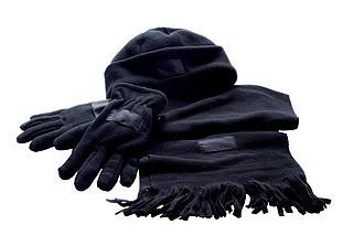 TRIPLE Sada čepice, rukavic a šály, černá