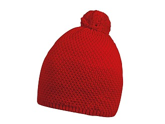 FELIPE Zimní čepice s bambulí, červená