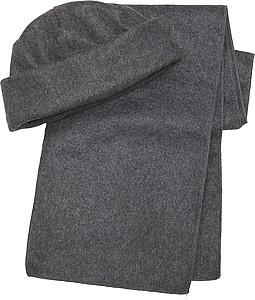 NORD Souprava šála a čepice, fleece, šedá - reklamní čepice