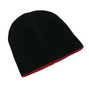 Čepice, 100% acryl, černočervená