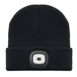 Čepice z akrylu s odnímatelným COB světlem na čele, černá