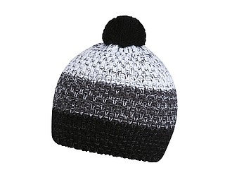 HORTON Barevná zimní čepice s bambulí, černá, šedá, bílá - reklamní čepice