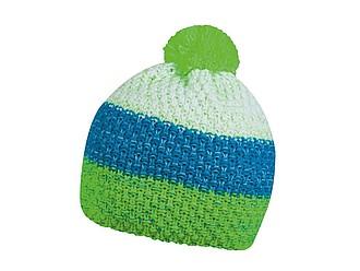 HORTON Barevná zimní čepice s bambulí, světle zelená, tyrkysová, bílá