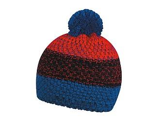 HORTON Barevná zimní čepice s bambulí, tmavě modrá, černá, červená