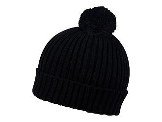 SNOVER Pletená zimní čepice s bambulí, černá