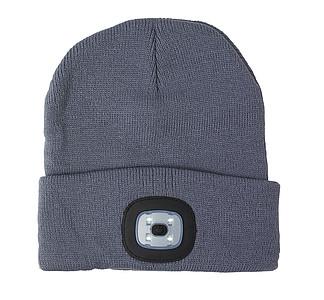 Akrylová čepice se světlem, šedá.