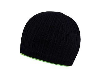 HAKARI Černá pletená čepice s barevným lemem, světle zelená - reklamní čepice