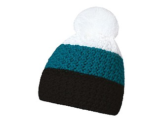 HEJDUK Tříbarevná pletená čepice s bambulkou, černá, modrá bílá - reklamní čepice