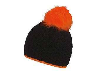 TETSU Černá zimní čepice s neonovou bambulkou, fluorescenční oranžová - reklamní čepice