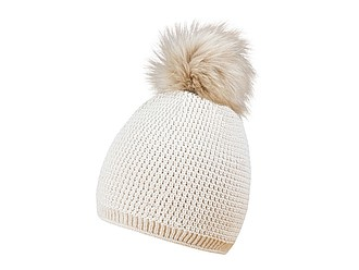 MORALES Zimní čepice s bambulkou, béžová - reklamní čepice
