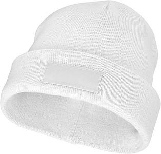 Akrylová čepice Boreas protáhlého tvaru (beanie), bílá - reklamní čepice