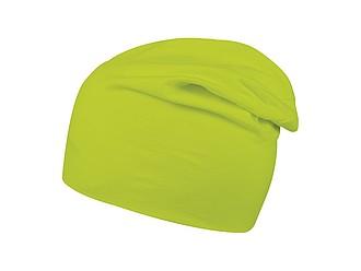 Prodloužená pletená zimní čepice s elastanem, světle zelená - reklamní čepice