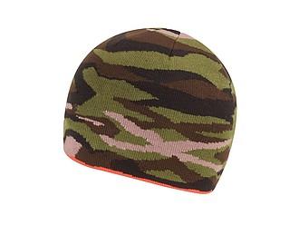 Zimní čepice oboustranná s oranžovou a maskáčovou variantou - reklamní čepice