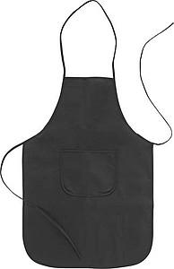 Zástěra z netkané textilie s přední kapsou, černá