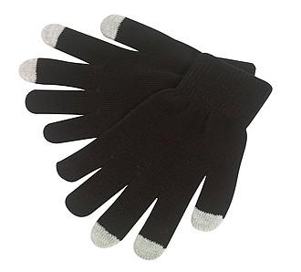 Rukavice s úpravou pro dotykové displeje na 3 prstech, černé