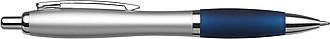 BANKER Kuličkové pero, stříbrné tělo, barevná rukojeť, tmavě modré