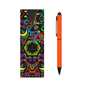 PIERRE CARDIN CELEBRATION Kovové kuličkové pero se stylusem, oranžové papírová taška s potiskem