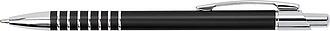 SERAK Hliníkové kuličkové pero s kroužky na úchopu a modrou náplní, černé