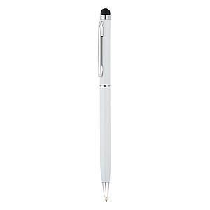 Kovové kuličkové pero se stylusem, černá náplň, bílá