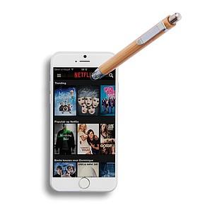 Bambusové kuličkové pero se stylusem