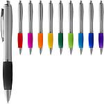 Stříbrné kuličkové pero Nash s barevným úchopem, stříbrná