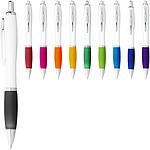 Stříbrné kuličkové pero Nash s barevným úchopem, černá