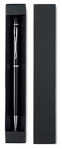 Hliníkové kuličkové pero se stylusem, v krabičce, černá