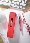 HARAH Hliníkové kuličkové pero v papírovém pouzdře, červená