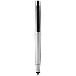 Tenké hliníkové pero se stylusem, modrá náplň, stříbrná