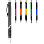 Plastové kuličkové pero s gumovým úchopem, černá náplň, modrá