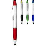 Plastové kuličkové pero s netradičním klipem, bílá, červená