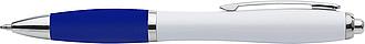 GRUMAN Bílé plastové kuličkové pero s modrou náplní a modrým úchopem