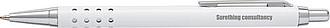 SÁRA Hliníkové tlačítkové kuličkové pero s modrou náplní, bílé
