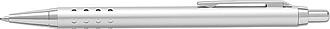 SÁRA Hliníkové tlačítkové kuličkové pero s modrou náplní, stříbrné