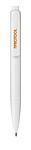 Jednobarevné plastové kuličkové pero, černá náplň, bílá