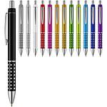 Bílé kuličkové pero Nash s barevným úchopem, bílá/fialová