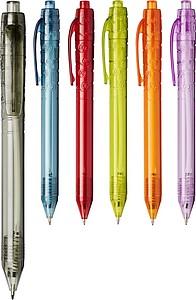 Průhledné kuličkové pero z recyklovaného materiálu, černá náplň, černá