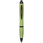 Tlačítkové kuličkové pero z plastu a pšeničné slámy, černá náplň, černá